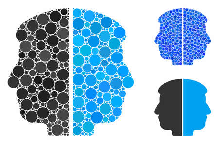 Dual face composition of round dots in variable sizes and color tones, based on dual face icon. Vector round dots are composed into blue illustration. Dotted dual face icon in usual and blue versions.