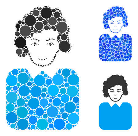 Bureaucrat lady composition of spheric dots in different sizes and color tinges, based on bureaucrat lady icon. Vector small circles are combined into blue composition.