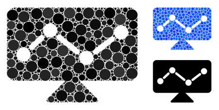 Analytics monitoring mosaic of round dots in various sizes and color tones, based on analytics monitoring icon. Vector round dots are grouped into blue composition.
