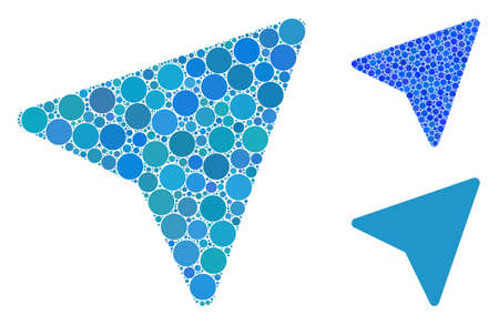 Freelance paper plane composition of small circles in variable sizes and color tinges, based on freelance paper plane icon. Vector random circles are united into blue composition. 일러스트