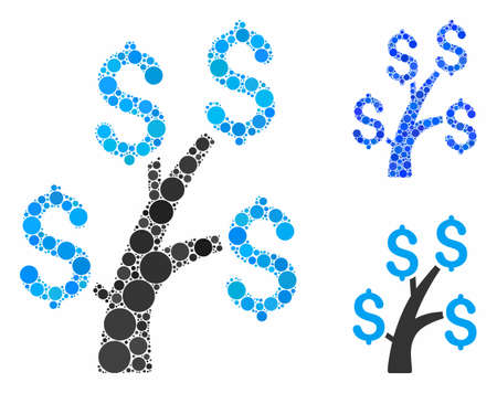 Money tree mosaic of spheric dots in different sizes and shades, based on money tree icon. Vector round dots are composed into blue illustration. Dotted money tree icon in usual and blue versions.