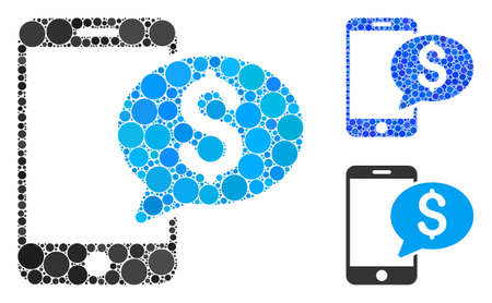 Mobile money message composition of small circles in various sizes and shades, based on mobile money message icon. Vector small circles are organized into blue composition.