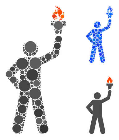 Líder con antorcha de libertad Composición de pequeños círculos en varios tamaños y tonos de color, basada en el ícono de líder con antorcha de libertad. Los círculos llenos de vectores se agrupan en una composición azul. Ilustración de vector