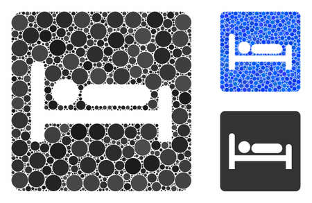 Motel bed composition of small circles in different sizes and color tinges, based on motel bed icon. Vector small circles are combined into blue composition. Иллюстрация