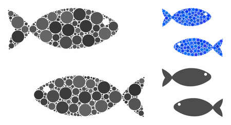 Fish pair composition of round dots in various sizes and color tinges, based on fish pair icon. Vector round elements are organized into blue composition. Vettoriali