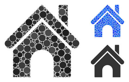 Home composition of small circles in various sizes and color tinges, based on home icon. Vector small circles are combined into blue collage. Dotted home icon in usual and blue versions.