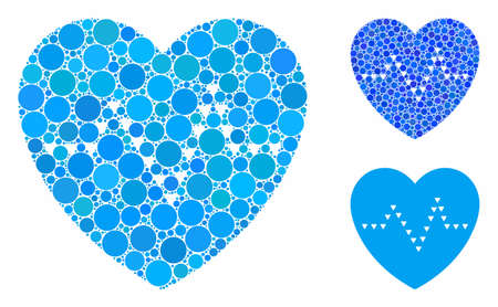Dotted heart pulse composition of small circles in variable sizes and shades, based on dotted heart pulse icon. Vector small circles are composed into blue mosaic.