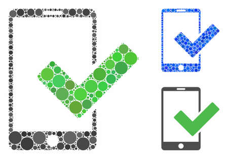 Valid smartphone mosaic of circle elements in different sizes and color tones, based on valid smartphone icon. Vector round elements are composed into blue mosaic.