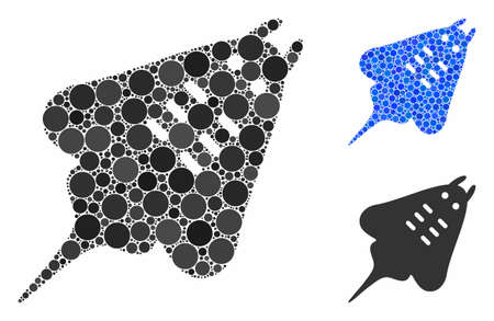 Stingray fish composition of small circles in variable sizes and shades, based on stingray fish icon. Vector small circles are composed into blue composition.