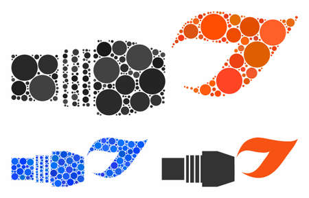 Gas burner nozzle fire composition of round dots in variable sizes and shades, based on gas burner nozzle fire icon. Vector round dots are united into blue composition.