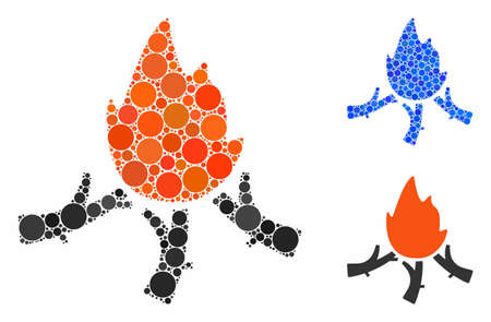 Wood campfire mosaic of spheric dots in various sizes and color hues, based on wood campfire icon. Vector dots are combined into blue illustration. Ilustrace
