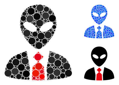Alien boss mosaic of round dots in different sizes and shades, based on alien boss icon. Vector round dots are composed into blue mosaic. Dotted alien boss icon in usual and blue versions. Stok Fotoğraf - 133026584