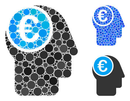Euro mind composition of small circles in variable sizes and color tinges, based on euro mind icon. Vector small circles are grouped into blue composition.