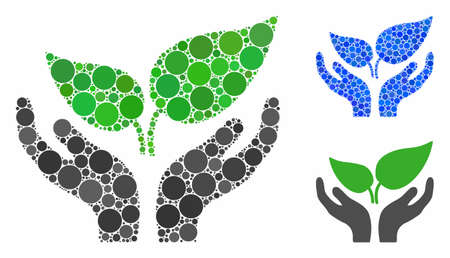 Eco startup care hands mosaic of round dots in different sizes and color tones, based on eco startup care hands icon. Vector round dots are organized into blue mosaic.