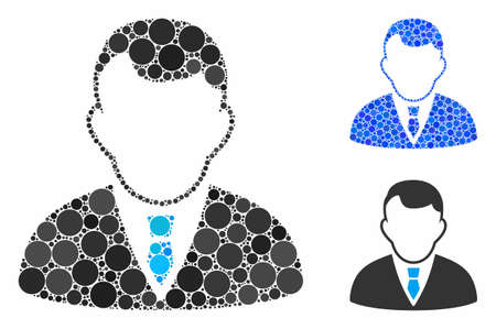 Manager composition of small circles in different sizes and color tints, based on manager icon. Vector small circles are composed into blue collage. Dotted manager icon in usual and blue versions.