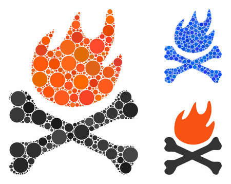 Bones hell fire composition of spheric dots in variable sizes and color hues, based on bones hell fire icon. Vector dots are united into blue composition.