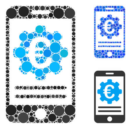 Euro mobile banking configuration mosaic of small circles in various sizes and color tones, based on Euro mobile banking configuration icon. Vector small circles are composed into blue collage.