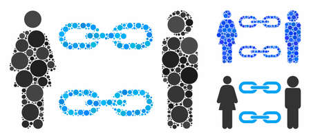 Family chains mosaic of small circles in various sizes and color tones, based on family chains icon. Vector random circles are composed into blue collage.