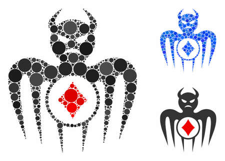 Gambling spectre devil mosaic of spheric dots in different sizes and color hues, based on gambling spectre devil icon. Vector dots are grouped into blue mosaic. Vector Illustration