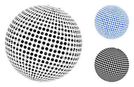 Composition abstraite de la sphère en pointillé de points ronds de différentes tailles et teintes de couleur, basée sur l'icône abstraite de la sphère en pointillé. Les points ronds vectoriels sont organisés en composition bleue.