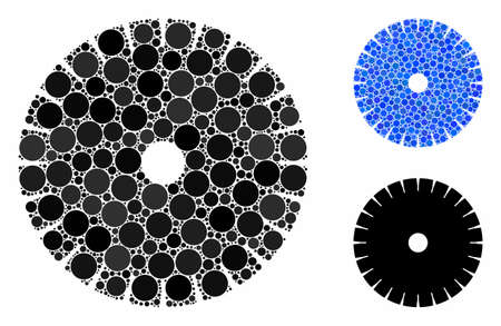 Stone circular blade mosaic of circle elements in different sizes and color hues, based on stone circular blade icon. Vector round elements are united into blue mosaic. Vecteurs