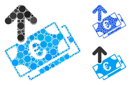 Spend Euro banknotes composition of round dots in various sizes and shades, based on spend Euro banknotes icon. Vector round dots are composed into blue mosaic. Illustration