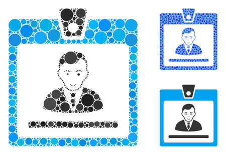 Manager badge composition of round dots in various sizes and color tones, based on manager badge icon. Vector round dots are combined into blue mosaic.