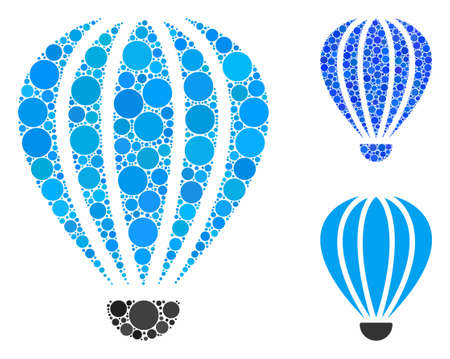 Aerostat composition of circle elements in different sizes and color tints, based on aerostat icon. Vector circle elements are composed into blue mosaic. Illusztráció