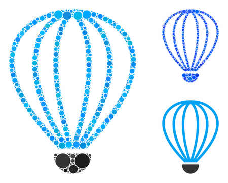 Aerostat composition of small circles in various sizes and color hues, based on aerostat icon. Vector small circles are grouped into blue composition. Dotted aerostat icon in usual and blue versions.