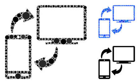 Phone-desktop sync composition of round dots in variable sizes and color tinges, based on phone-desktop sync icon. Vector round dots are united into blue collage.