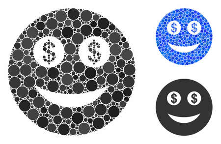 Business smiley mosaic of filled circles in various sizes and shades, based on business smiley icon. Vector filled circles are organized into blue composition. Illustration