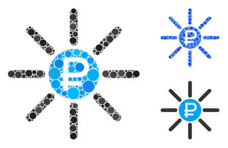 Rouble source composition of round dots in various sizes and color hues, based on rouble source icon. Vector round dots are grouped into blue mosaic.