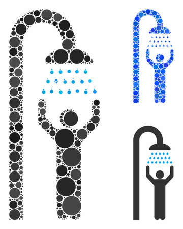 Man under shower mosaic of round dots in various sizes and color tones, based on man under shower icon. Vector round dots are combined into blue mosaic.