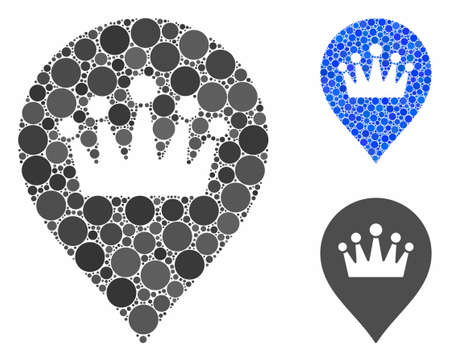 Crown marker composition of small circles in various sizes and shades, based on crown marker icon. Vector small circles are grouped into blue composition.