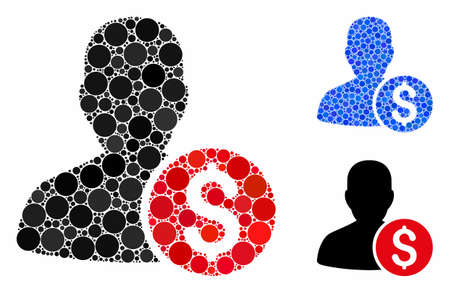 Investor mosaic of round dots in variable sizes and color tinges, based on investor icon. Vector round elements are composed into blue mosaic. Dotted investor icon in usual and blue versions.