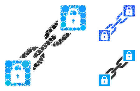 Lock blockchain mosaic of small circles in various sizes and color tinges, based on lock blockchain icon. Vector small circles are grouped into blue mosaic.