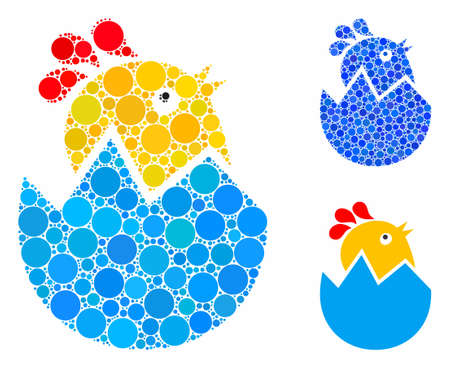 Hatch chick mosaic of round dots in variable sizes and color tints, based on hatch chick icon. Vector round dots are organized into blue mosaic. Dotted hatch chick icon in usual and blue versions.  イラスト・ベクター素材