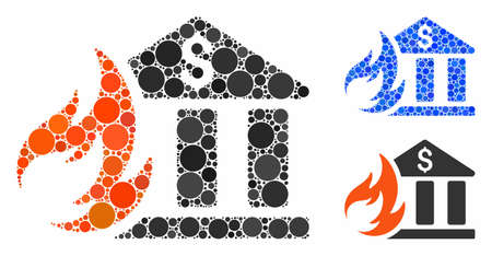 Bank fire disaster mosaic of small circles in various sizes and color tones, based on bank fire disaster icon. Vector small circles are united into blue collage.