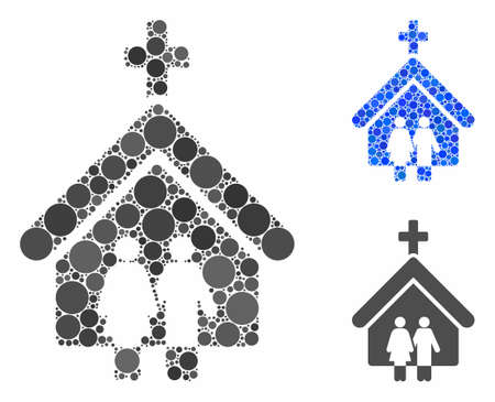 Family church mosaic of filled circles in various sizes and color tones, based on family church icon. Vector filled circles are composed into blue mosaic. Ilustrace
