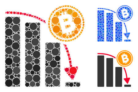 Bitcoin epic fail chart composition of circle elements in various sizes and color hues, based on Bitcoin epic fail chart icon. Vector circle elements are organized into blue collage. Иллюстрация