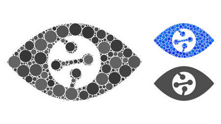 Smart contact lens composition of round dots in variable sizes and color tones, based on smart contact lens icon. Vector round dots are united into blue mosaic.