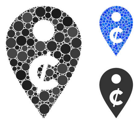 Cent map marker composition of small circles in various sizes and shades, based on cent map marker icon. Vector small circles are composed into blue mosaic.