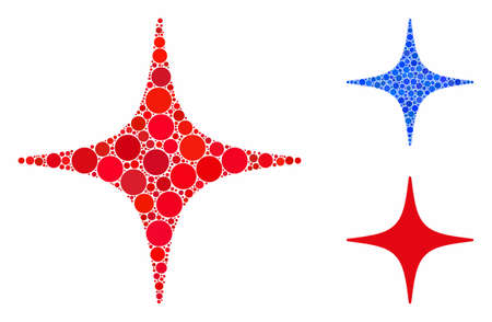 Space star composition of round dots in different sizes and color tones, based on space star icon. Vector round dots are organized into blue composition.
