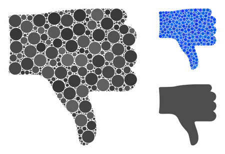 Thumb down mosaic of spheric dots in different sizes and color hues, based on thumb down icon. Vector dots are composed into blue mosaic. Dotted thumb down icon in usual and blue versions.