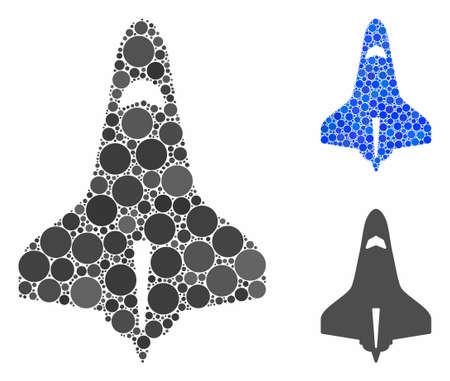 Space shuttle composition of filled circles in variable sizes and color tones, based on space shuttle icon. Vector filled circles are combined into blue collage.