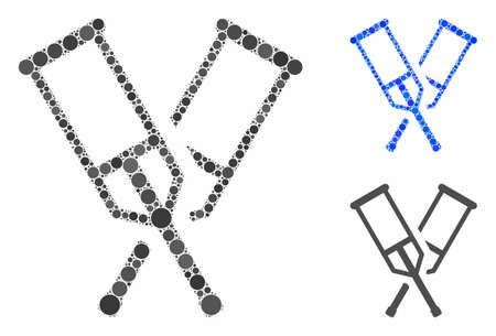 Crutches composition of small circles in different sizes and color hues, based on crutches icon. Vector small circles are composed into blue collage. Dotted crutches icon in usual and blue versions. Illustration
