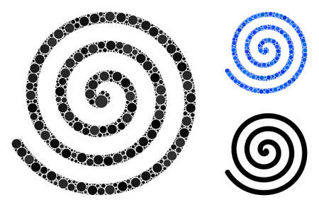 Spiral mosaic of small circles in different sizes and color hues, based on spiral icon. Vector small circles are grouped into blue mosaic. Dotted spiral icon in usual and blue versions.