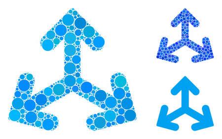 Direction variants mosaic of circle elements in various sizes and color tones, based on direction variants icon. Vector circle elements are combined into blue illustration. Vektoros illusztráció