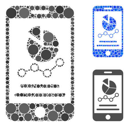 Mobile graphs composition of spheric dots in variable sizes and color tints, based on mobile graphs icon. Vector dots are united into blue composition.