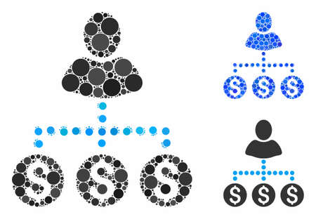 User payments composition of filled circles in variable sizes and color tinges, based on user payments icon. Vector filled circles are united into blue mosaic.